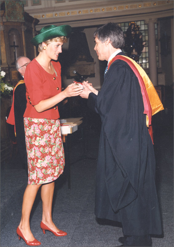 Princess Diana presenting Owen with his Hon RAM  honour